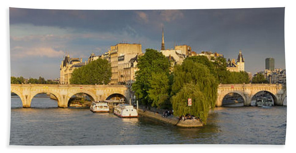 Architecture Bath Sheet featuring the photograph Seine Pano II by Brian Jannsen