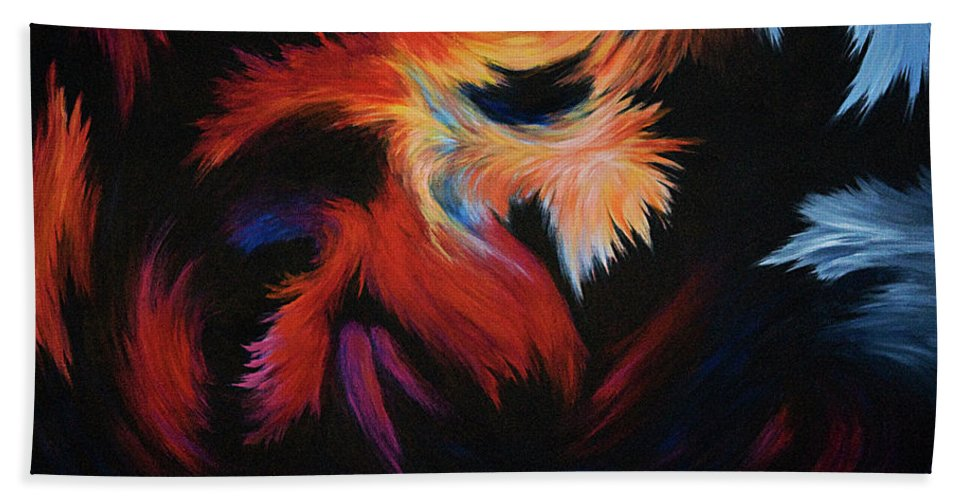 Abstract Hand Towel featuring the painting Seizure by Rachel Christine Nowicki