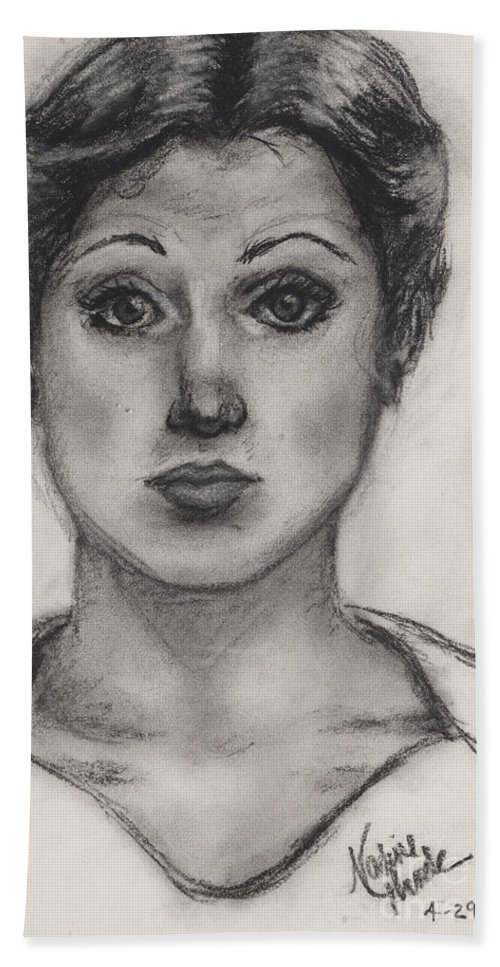 Nadine Hand Towel featuring the drawing Self Portrait At Age 18 by Nadine Rippelmeyer