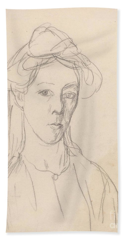 Hand Towel featuring the drawing Self-portrait by Gwen John