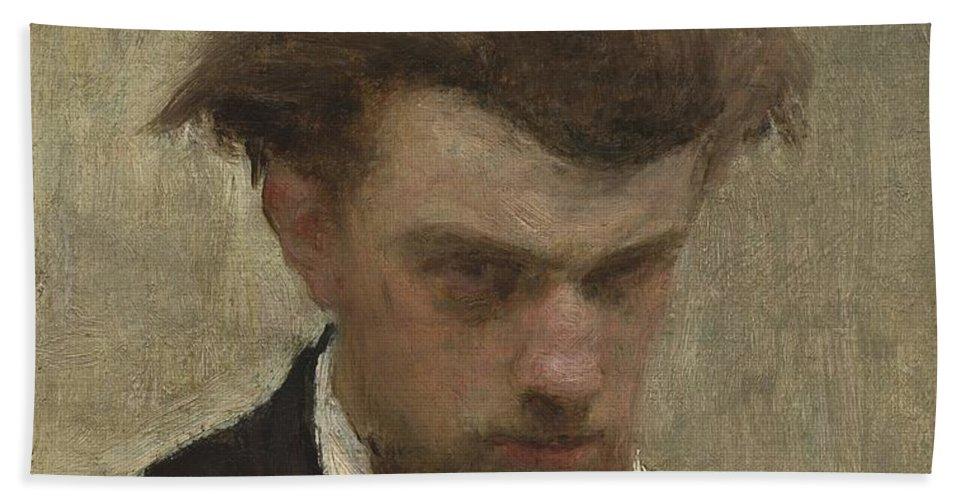 Hand Towel featuring the painting Self-portrait by Henri Fantin-latour