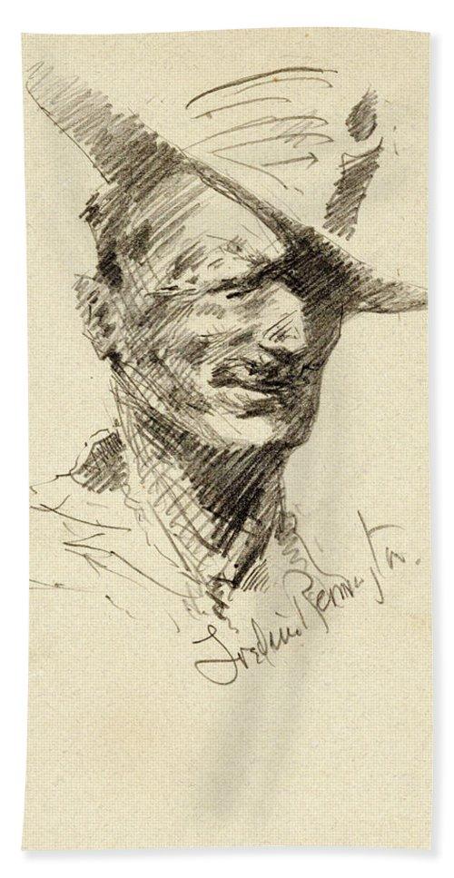 Self Portrait Bath Sheet featuring the painting Self Portrait Of Frederic Remington by Frederic Sackrider Remington
