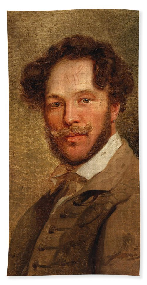 Alexander Clarot Bath Sheet featuring the painting Self-portrait Of The Artist by Alexander Clarot