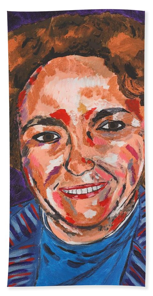 Portrait Bath Towel featuring the painting Self-portrait With Blue Jacket by Valerie Ornstein