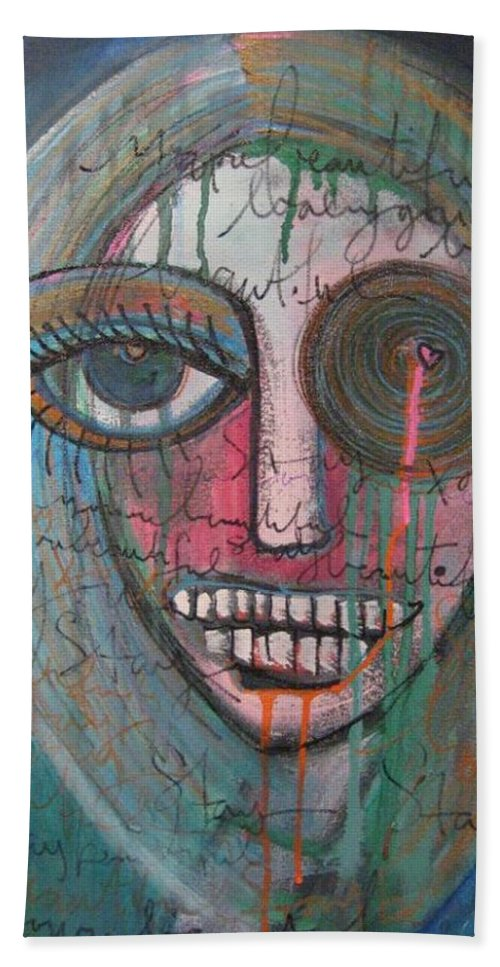 Self Portraits Bath Towel featuring the painting Self Portrait Youre Beautiful by Laurie Maves ART