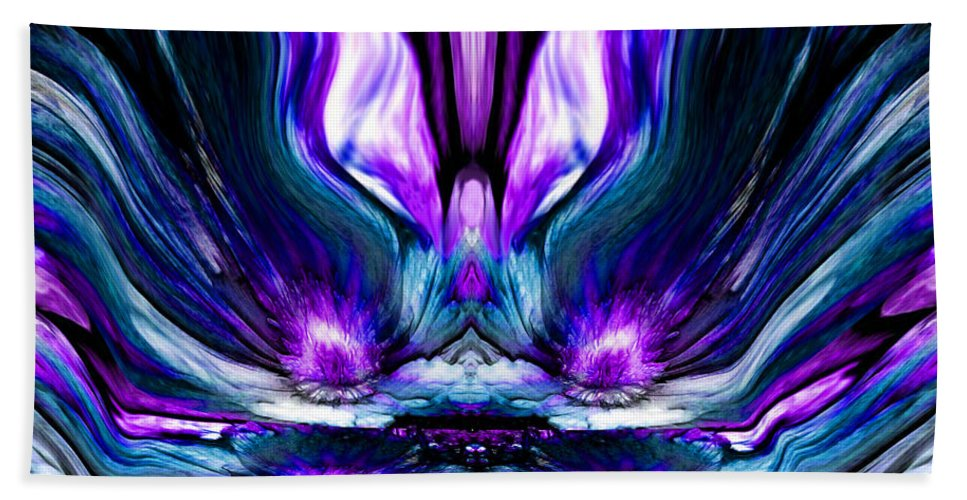 Self Reflection Bath Sheet featuring the digital art Self Reflection - Purple Blue by Artistic Mystic