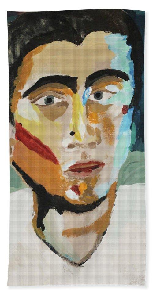 Portrait Bath Sheet featuring the painting Selfie 2017 by Jai KH