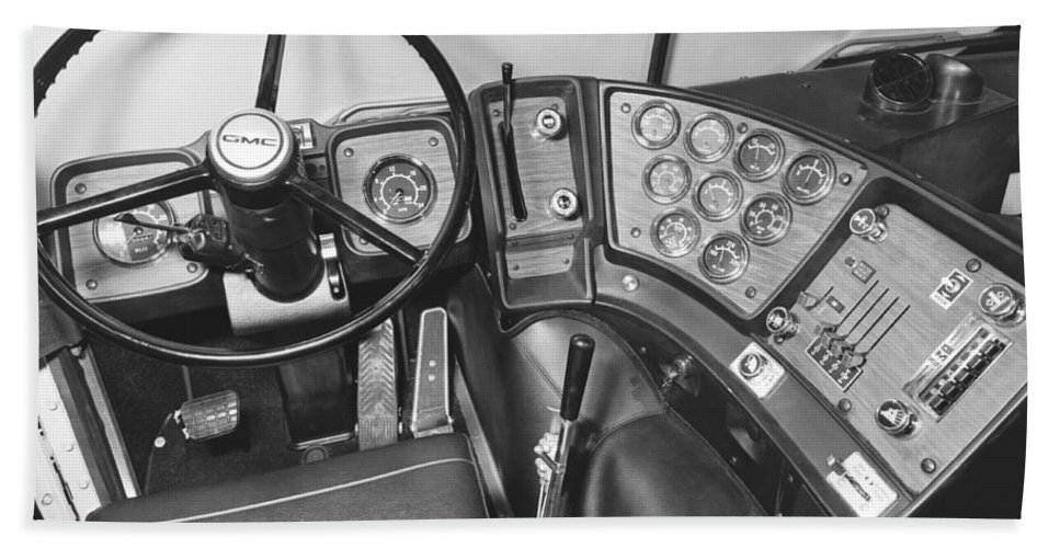 1960s Hand Towel featuring the photograph Semi-trailer Cab Interior by Underwood Archives
