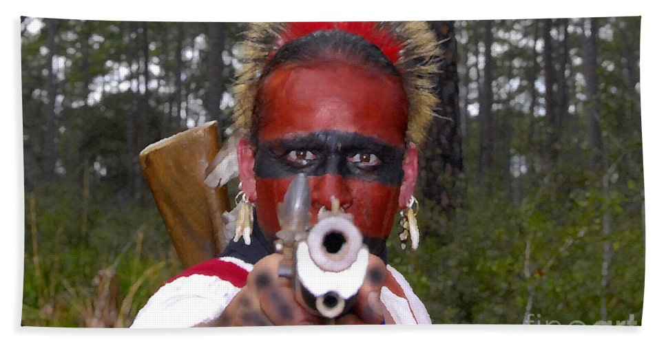 Seminole Indian Hand Towel featuring the photograph Seminole Warrior by David Lee Thompson