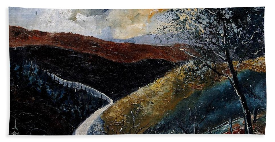 River Hand Towel featuring the painting Semois Valley by Pol Ledent