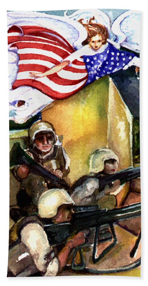 Elle Fagan Hand Towel featuring the painting Semper Fideles - Iraq by Elle Smith Fagan