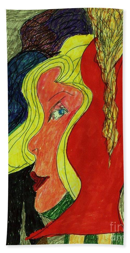 Clown Woman With Blonde Hair Bath Sheet featuring the mixed media Send In The Clown by Elinor Rakowski