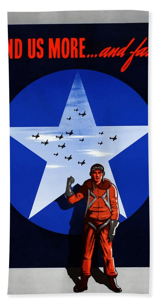 Air Force Hand Towel featuring the painting Send Us More And Fast -- Ww2 by War Is Hell Store