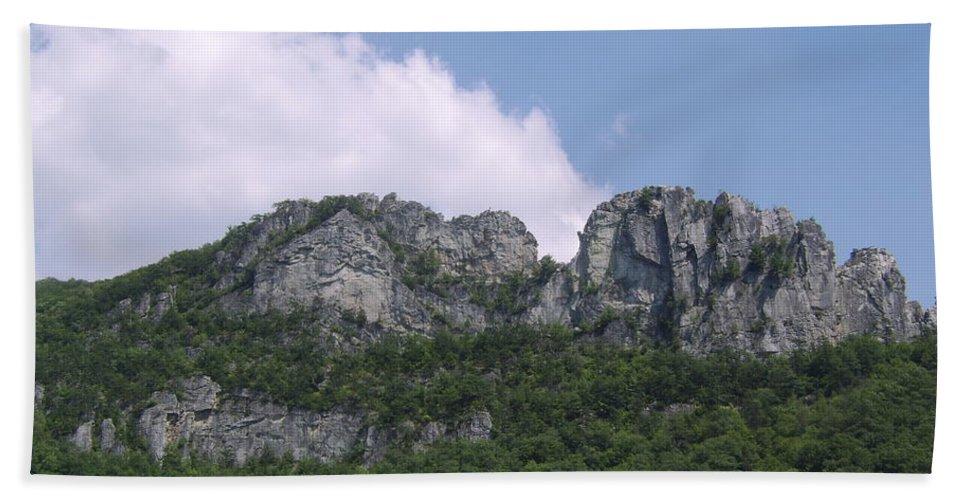 Seneca Rocks West Virginia Images Photographs Prints Appalachian Blue Ridge Mountain Landscape Images Nature Hand Towel featuring the photograph Seneca Rocks by Joshua Bales