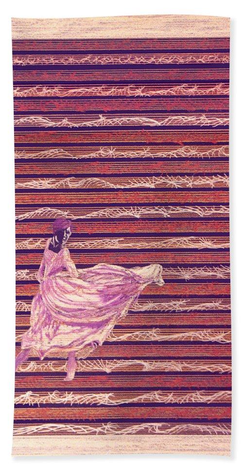Music Hand Towel featuring the drawing Senorita Dance by Steve Karol