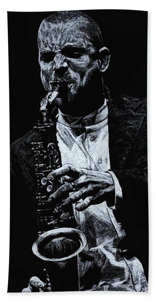 Musician Hand Towel featuring the pastel Sensational Sax by Richard Young