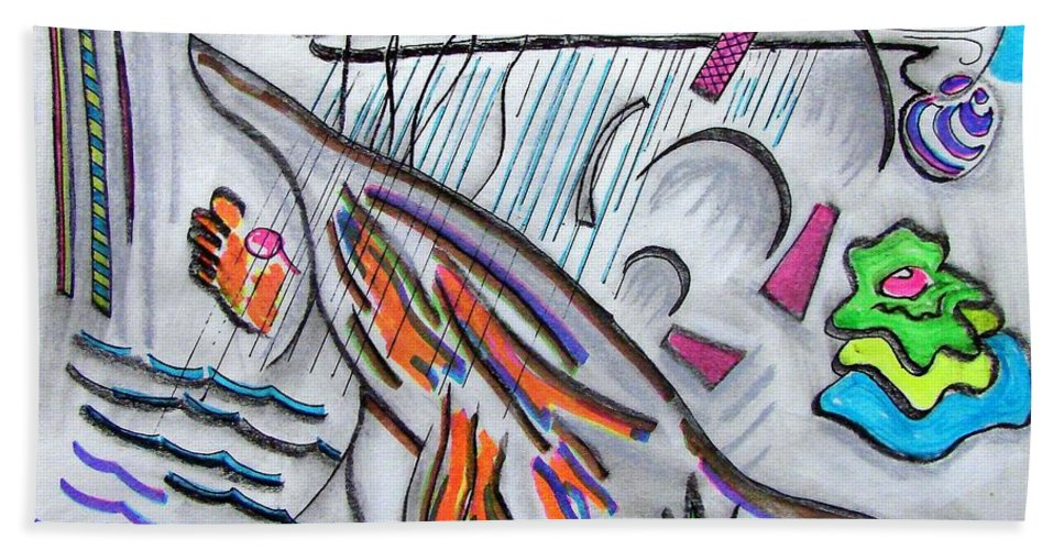 Abstract Drawing Hand Towel featuring the drawing Sensing The Precipice by J R Seymour