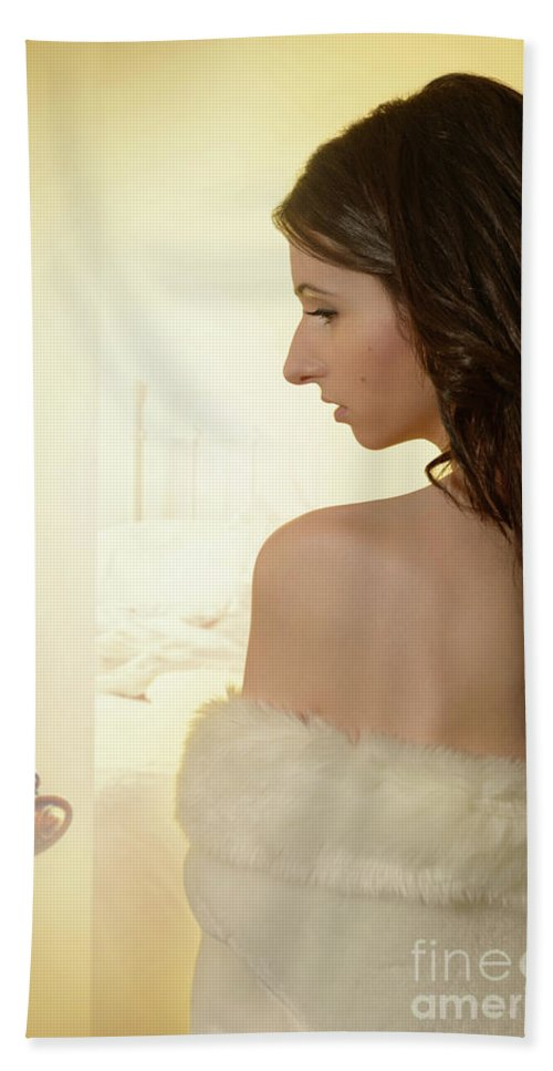 Boudoir Hand Towel featuring the photograph Sensual Woman by Amanda Elwell