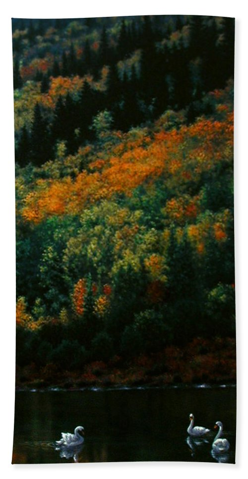 Scenic Bath Sheet featuring the painting Sentinels Of September Serenity by Stephen Lucas