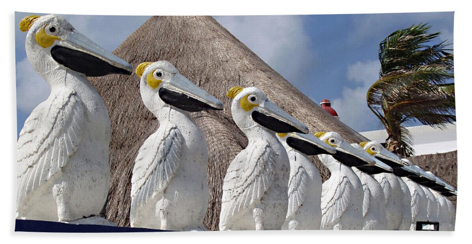 Sentry Pelicans Hand Towel featuring the photograph Sentry Pelicans by Ellen Henneke