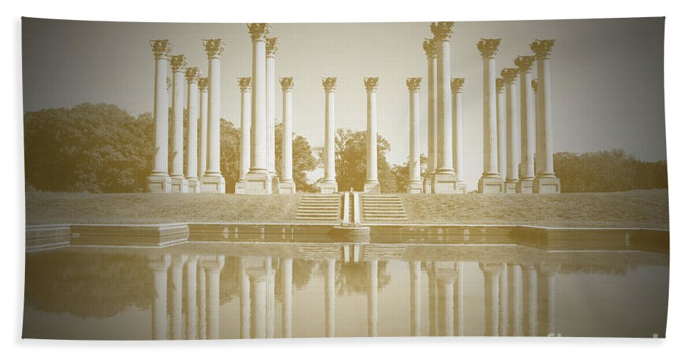 Washington Bath Sheet featuring the photograph Sepia Columns by Jost Houk