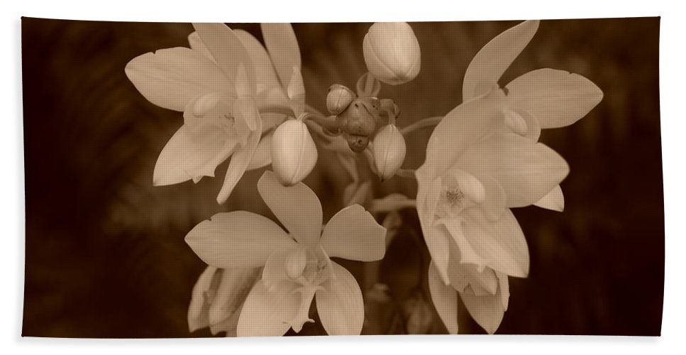 Macro Bath Towel featuring the photograph Sepia Flower by Rob Hans