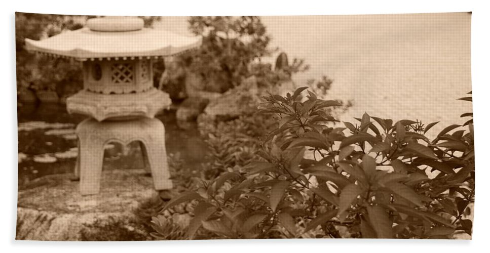 Sepia Hand Towel featuring the photograph Sepia Japanese Garden by Rob Hans