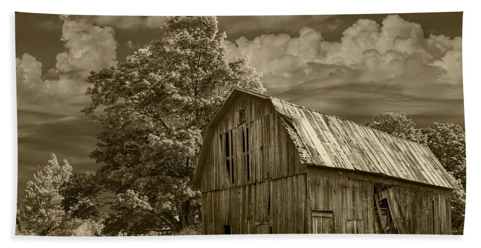 Landscape Bath Sheet featuring the photograph Sepia Michigan Barn Landscape by Randall Nyhof