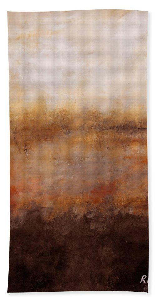 Abstract Hand Towel featuring the painting Sepia Wetlands by Ruth Palmer