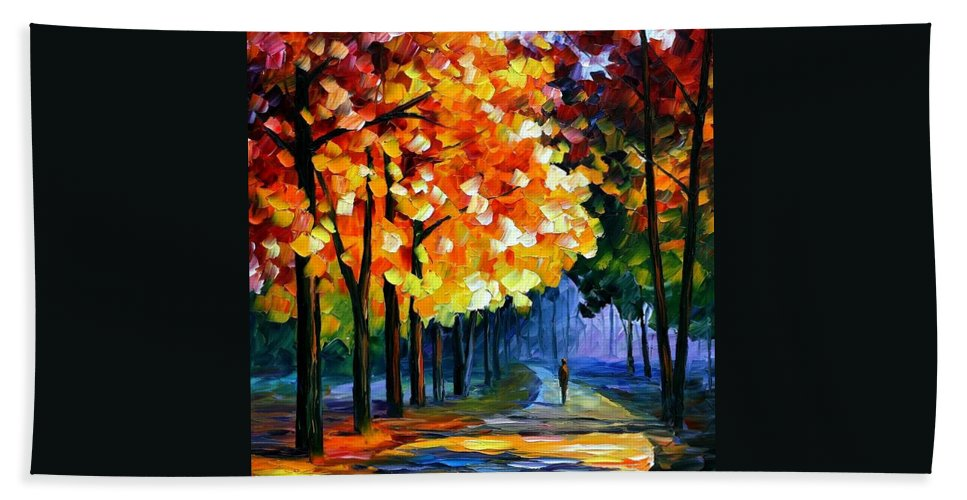 Afremov Hand Towel featuring the painting September by Leonid Afremov