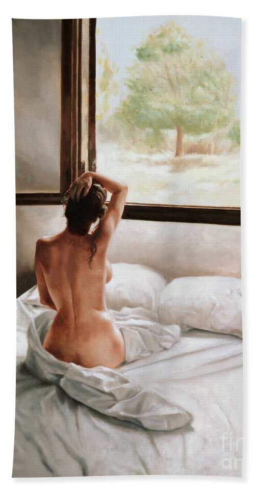 Bed; Waking Up; Female; Woman; Nude; Bedsheets; Sheets; Window; View; Tree Bath Towel featuring the painting September Morning by John Worthington