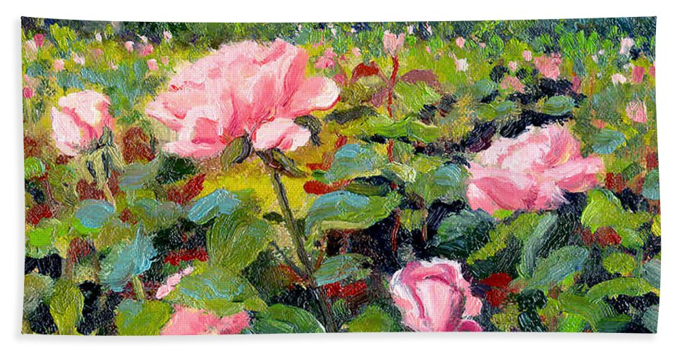 Impressionism Bath Sheet featuring the painting September Roses by Keith Burgess