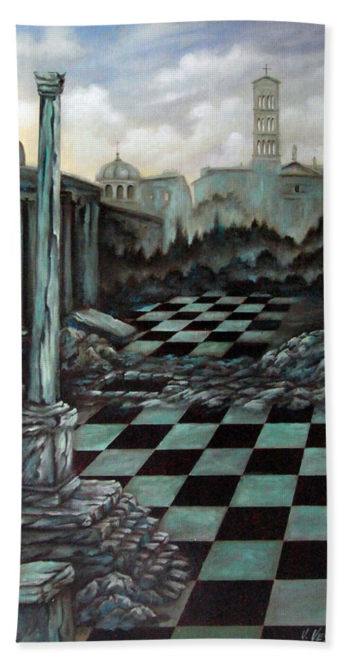 Surreal Bath Sheet featuring the painting Sepulchre by Valerie Vescovi