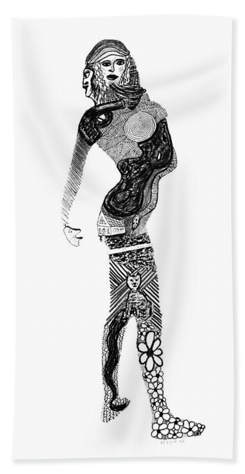 Sarafina Hand Towel featuring the drawing Serafina by Gina DElia