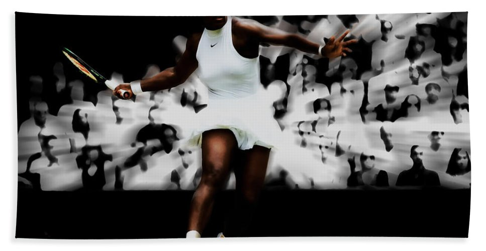 Serena Williams Hand Towel featuring the mixed media Serena Williams Putting On A Show by Brian Reaves