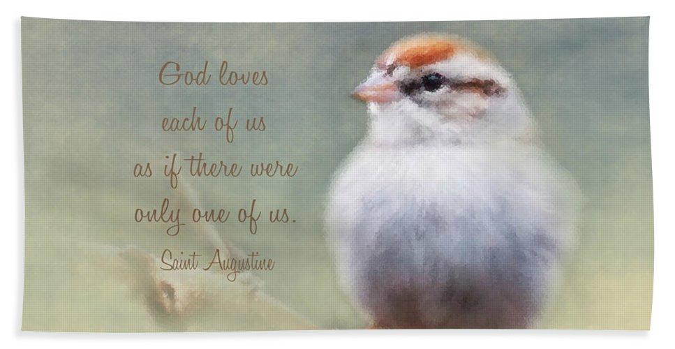 Serendipitous Sparrow Bath Sheet featuring the photograph Serendipitous Sparrow - Quote by Anita Faye