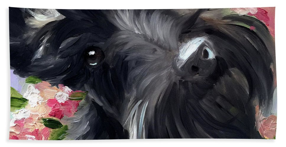 Scottie Hand Towel featuring the painting Serendipity by Mary Sparrow