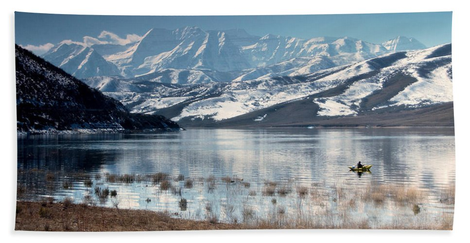 Landscape Bath Sheet featuring the photograph Serene Paddling by Scott Sawyer