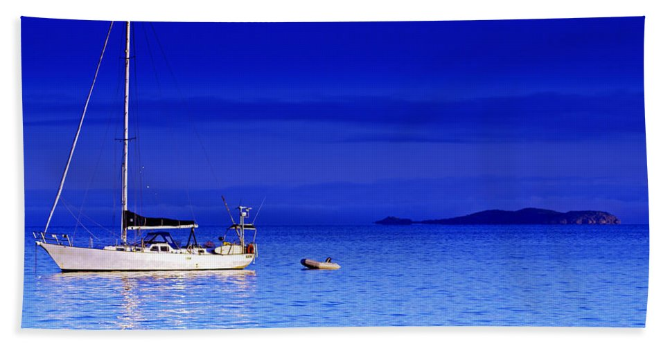 Transportation. Boats Bath Towel featuring the photograph Serene Seas by Holly Kempe