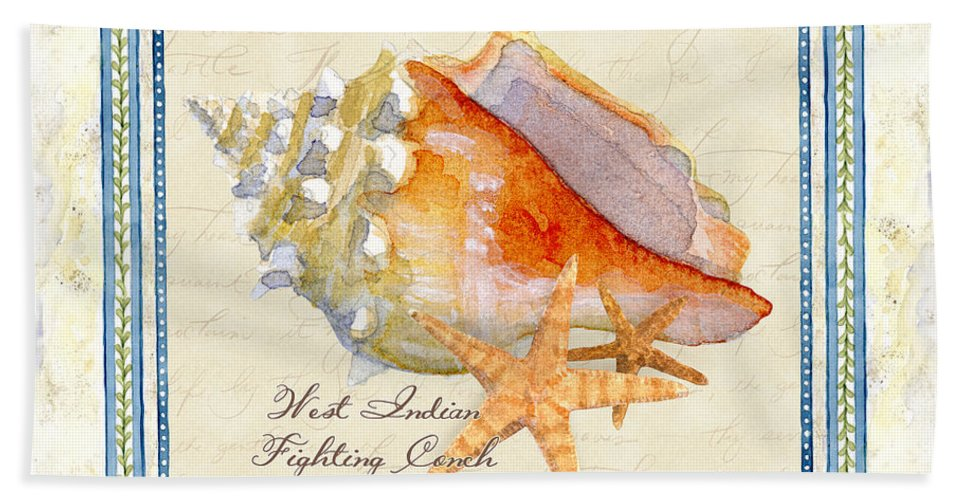 West Indies Bath Towel featuring the painting Serene Shores - West Indies Fighting Conch N Starfish by Audrey Jeanne Roberts