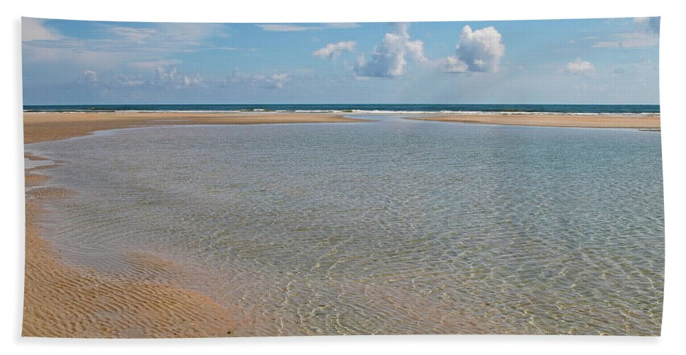 Beach Bath Sheet featuring the photograph Serene Tidal Pool By The Sea by Daniel Caracappa