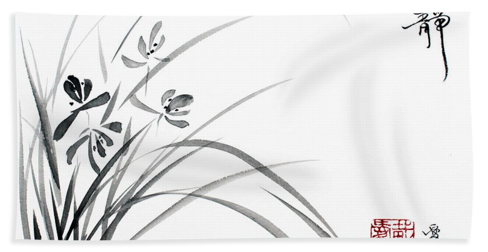Chinese Painting Hand Towel featuring the painting Serene Tranquility by Oiyee At Oystudio