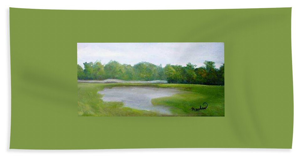 Landscape Bath Towel featuring the painting Serene Vista by Sheila Mashaw