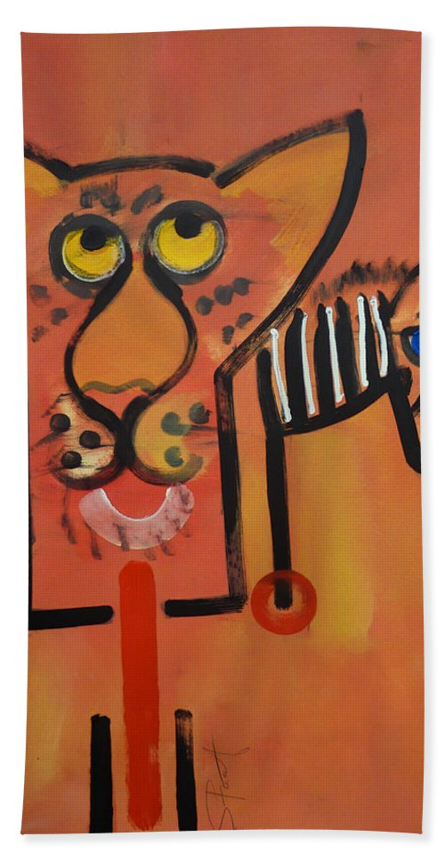 Big Cat Hand Towel featuring the painting Serengeti Cat by Charles Stuart