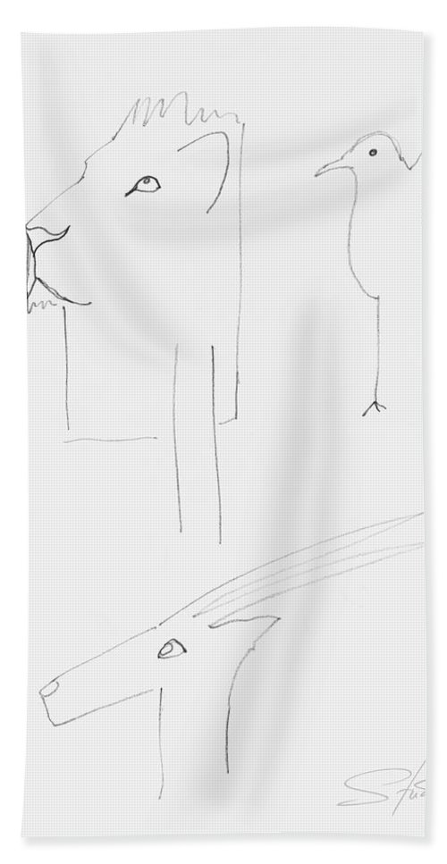 Serengeti Cat Hand Towel featuring the painting Serengeti Drawing by Charles Stuart