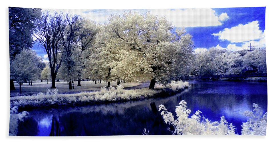 Infrared Bath Sheet featuring the photograph Serenity Bridge by Nick Vogt