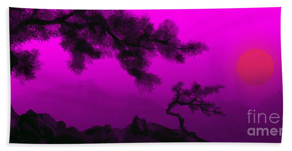 Japanese; Sunset; Mountains; Trees; Rising; Sun; Contemporary; Purple; Pink;sunrise; Sunset Bath Towel featuring the painting Serenity by James Christopher Hill