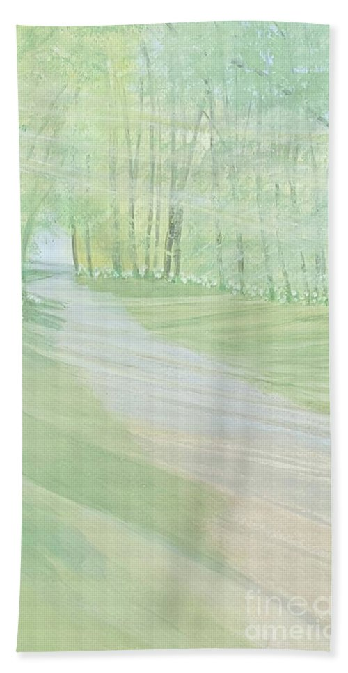 Green Hand Towel featuring the painting Serenity by Joanne Perkins