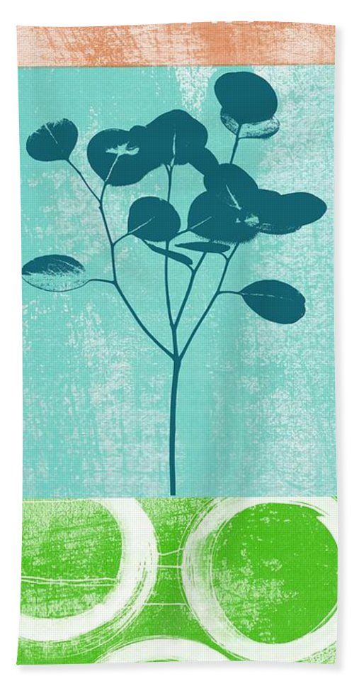 Serenity Hand Towel featuring the mixed media Serenity by Linda Woods