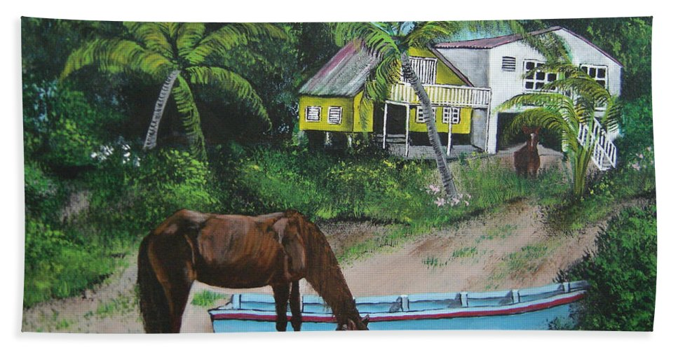 Aguadilla Bath Sheet featuring the painting Serenity by Luis F Rodriguez